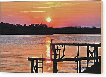Surreal Smith Mountain Lake Dock Sunset Wood Print