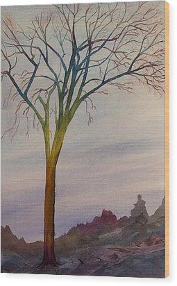 Surreal Tree No. 2 Wood Print by Debbie Homewood
