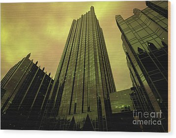 Surreal View Of Ppg Plaza Pittsburgh Wood Print by Amy Cicconi