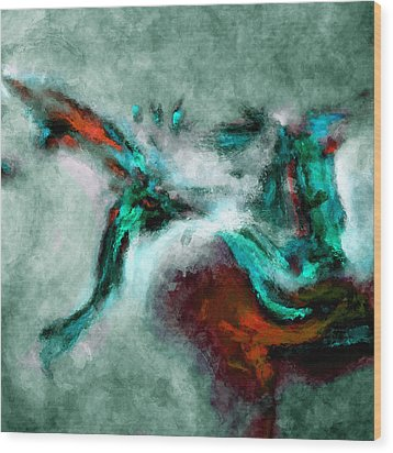 Wood Print featuring the painting Surrealist And Abstract Painting In Orange And Turquoise Color by Ayse Deniz