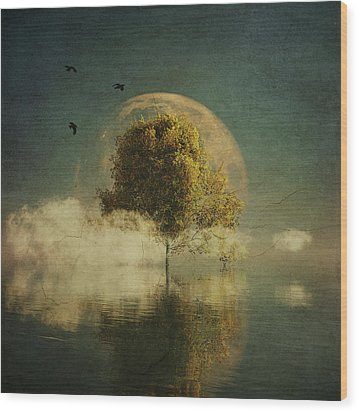 Surrealistic Landscape With Yellow Birch And Full Moon Wood Print
