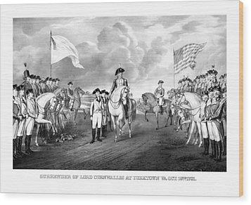 Surrender Of Lord Cornwallis At Yorktown Wood Print by War Is Hell Store
