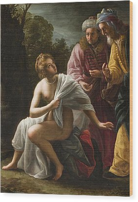 Susanna And The Elders Wood Print by Ottavio Mario Leoni