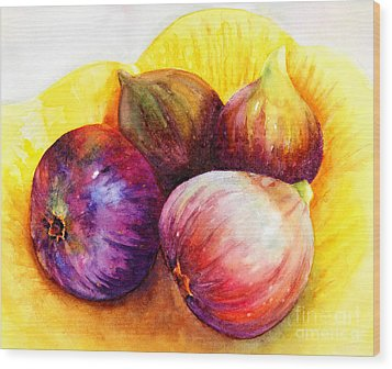 Wood Print featuring the painting Susan's Figs by Bonnie Rinier