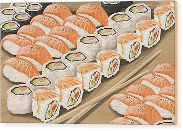 Wood Print featuring the painting Sushi by Veronica Minozzi