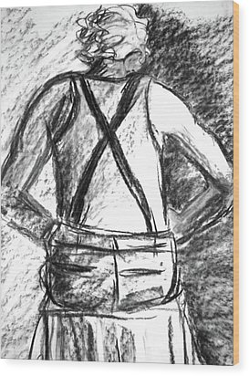 Wood Print featuring the painting Suspenders by Cathie Richardson
