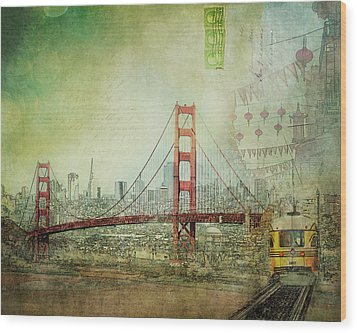 Wood Print featuring the photograph Suspension - Golden Gate Bridge San Francisco Photography Mixed Media Collage by Melanie Alexandra Price