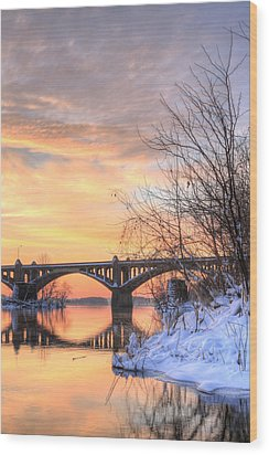 Susquehanna Sunrise Wood Print by JC Findley