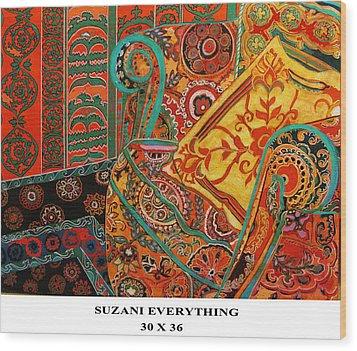 Suzani Everything Wood Print by Linda Arthurs