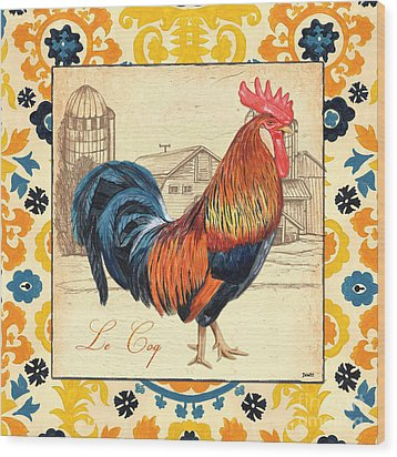Suzani Rooster 2 Wood Print by Debbie DeWitt