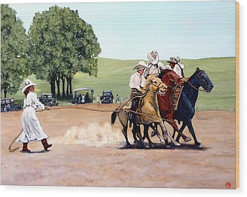 Suzzi Q. Whirling The Rope Wood Print by Tom Roderick