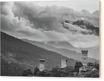 Wood Print featuring the photograph Svan Towers by Francesco Emanuele Carucci