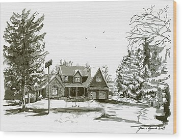 Svege Ny In Winter Wood Print by Yvonne Ayoub