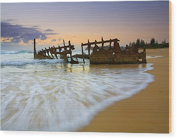 Swallowed By The Tides Wood Print by Mike  Dawson