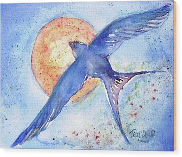 Wood Print featuring the painting Swallows Return  by Trudi Doyle