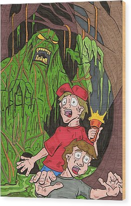 Swamp Monster Wood Print by Anthony Snyder