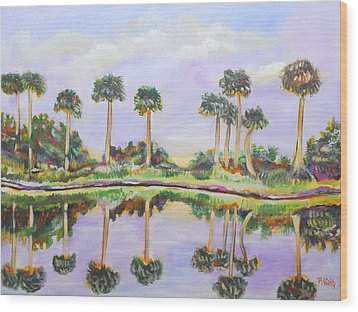 Swamp Palms Wood Print by Patricia Piffath