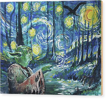 Swampy Night Wood Print by Tom Carlton