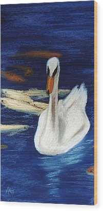 Wood Print featuring the pastel Swan And Koi by Jan Amiss