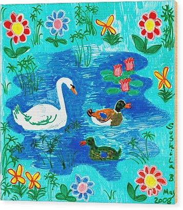 Swan And Two Ducks Wood Print by Sushila Burgess