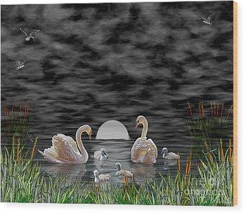 Swan Family Wood Print by Terri Mills