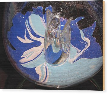 Swan In A Wine Glass Wood Print by HollyWood Creation By linda zanini
