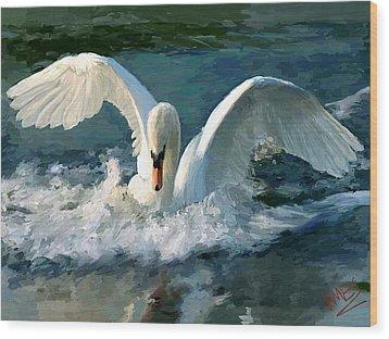 Swan Lake Wood Print by James Shepherd