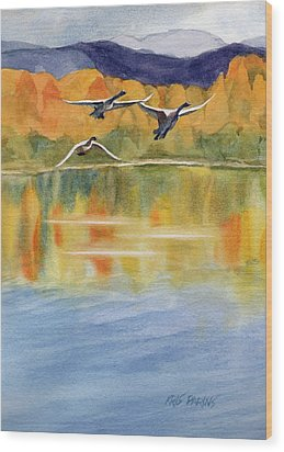 Wood Print featuring the painting Swan Lake Revisited by Kris Parins