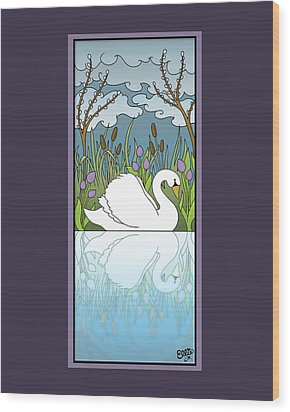 Swan On The River Wood Print by Eleanor Hofer