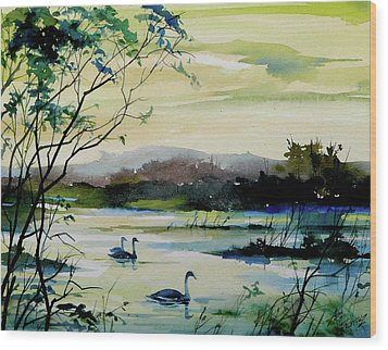 Swan Pond Wood Print by Art Scholz