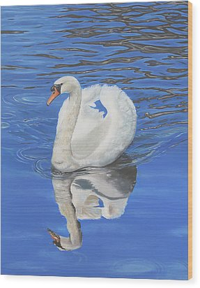 Wood Print featuring the painting Swan Reflection by Elizabeth Lock
