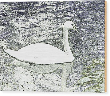 Wood Print featuring the photograph Swan Sketch by Manuela Constantin