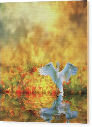 Wood Print featuring the photograph Swan Song At Sunset Thanks For The Good Day Lord by Diane Schuster