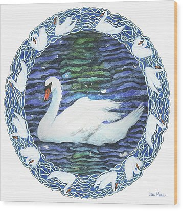 Swan With Knotted Border Wood Print
