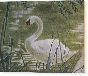 Swanlike Neck Wood Print by Barbara Pascal