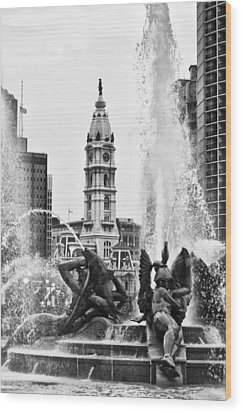 Swann Memorial Fountain In Black And White Wood Print by Bill Cannon