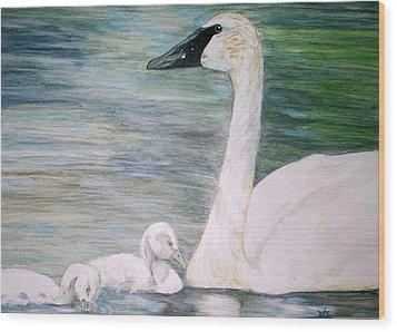 Swans Wood Print by Debra Sandstrom