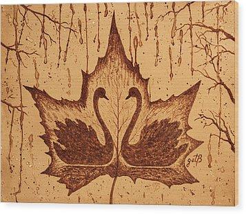 Wood Print featuring the painting Swans  In Love Original Coffee Painting by Georgeta Blanaru
