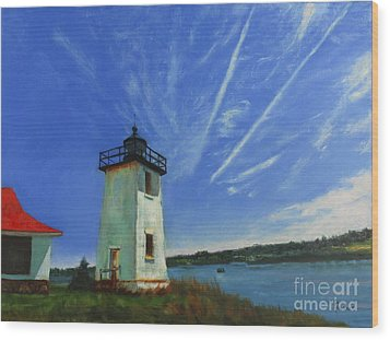 Swans Island Lighthouse Wood Print