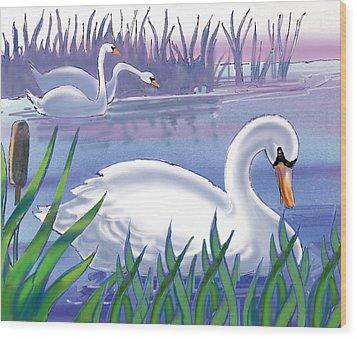 Swans Wood Print by Valer Ian