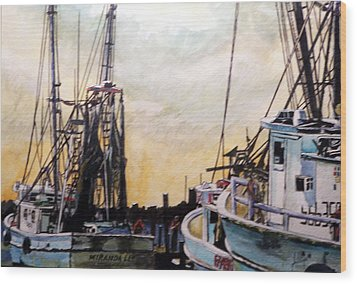 Wood Print featuring the painting Swansboro Shrimp Boats by Jim Phillips