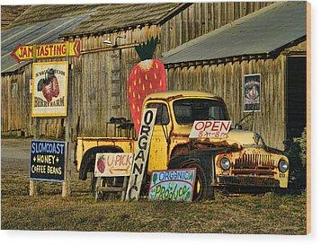 Wood Print featuring the photograph Swanton Berry Farm / International Pickup by Steve Siri