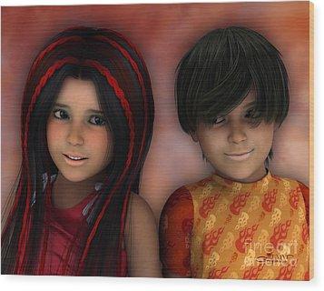 Swarthy Twins Wood Print by Jutta Maria Pusl