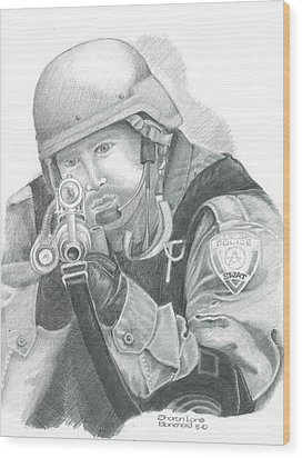S.w.a.t. At The Ready Wood Print by Sharon Blanchard