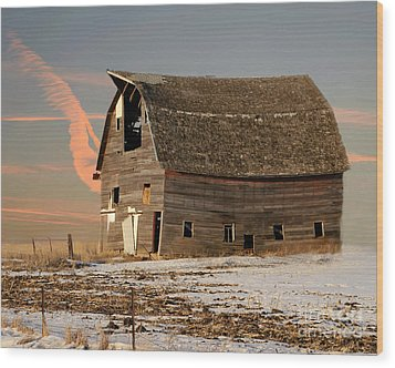 Swayback Barn Wood Print by Kathy M Krause