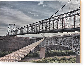Wood Print featuring the photograph Swayback Suspension Bridge by Farol Tomson