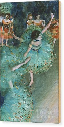 Swaying Dancer In Green Wood Print by Pg Reproductions