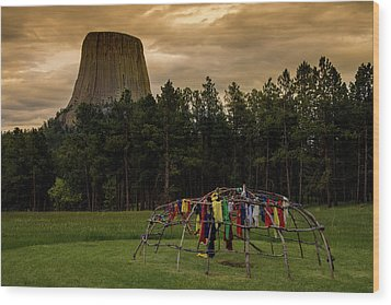 Wood Print featuring the photograph Sweat Lodge At Devil's Tower by Gary Lengyel