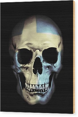 Wood Print featuring the digital art Swedish Skull by Nicklas Gustafsson