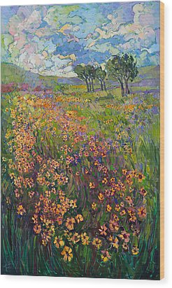 Sweep Of Wildflowers Wood Print by Erin Hanson